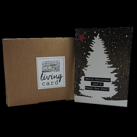 Living Card - Weihnachtskarte - A5, 4,3 Zoll braun Holzoptik